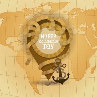 ハッピーコロンブスデーアメリカ発見ホリデーポスターグリーティングカードレトロ世界地図
