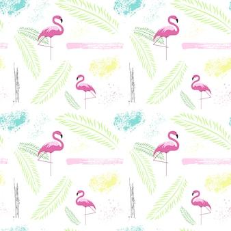 カラフルな熱帯飾りと夏のシームレスパターン背景スタイル