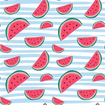 スイカのシームレスなパターンカラフルな夏飾り背景スタイル