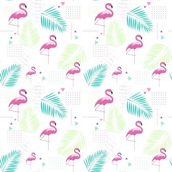 Бесшовный фон фламинго тропический летний орнамент фон