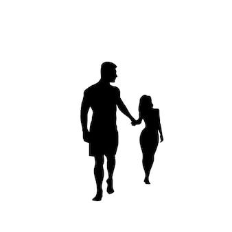 Черный силуэт романтическая пара, держась за руки во всю длину, изолированных на белом фоне