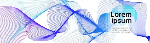 カラフルな波が白い背景の上の青い線を抽象化します。