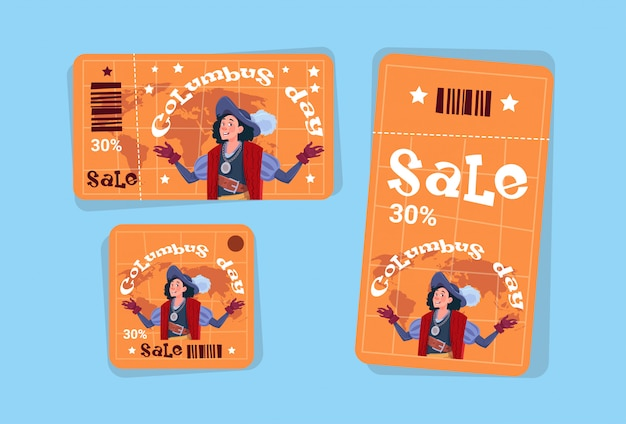 コロンブスデー季節ホリデーセールタグショッピング割引アイコンアメリカ発見グリーティングカード