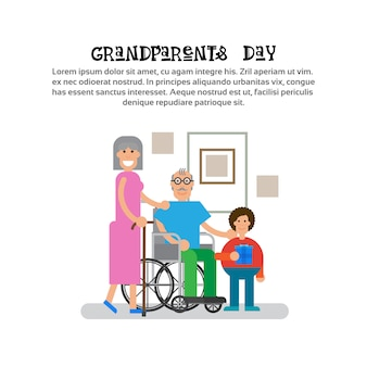 孫と祖父母幸せな祖母と祖父の日グリーティングカードバナー