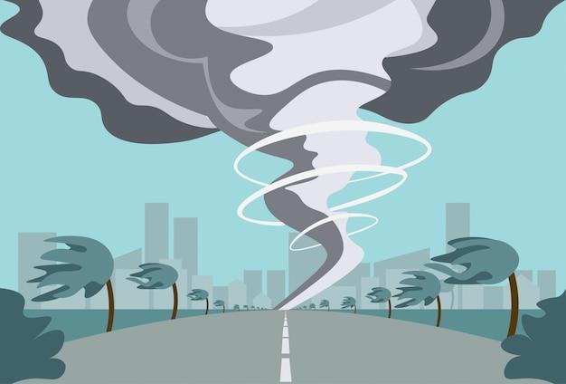 田舎で竜巻ハリケーンの風景フィールドの自然災害コンセプトで暴風雨の噴水
