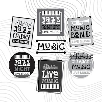ジャズフェスティバルライブミュージックコンサートポスター広告レトロバナーセット