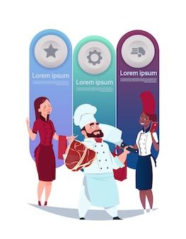 料理のテンプレートのセットシェフとウェイトレスのインフォグラフィック要素の背景