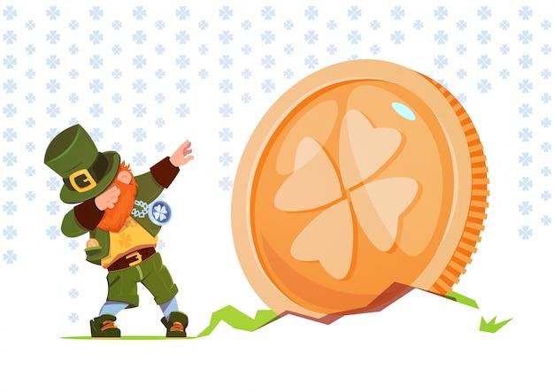 Счастливый день святого патрика фон зеленый человек лепрекон на золотую монету с клевером петь