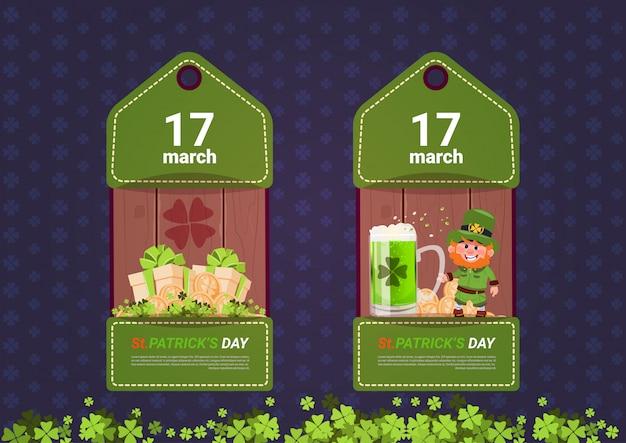 День святого патрика теги шаблон набор зеленых листовки для продажи или покупки скидки продвижение