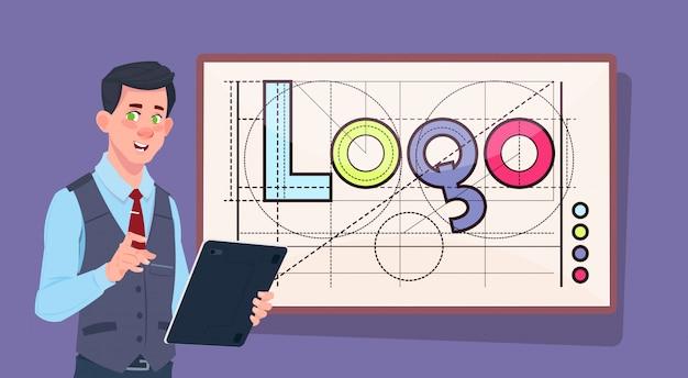ロゴワード創造的なグラフィックデザインの上のデジタルタブレットを持つビジネスマン