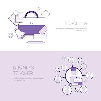 Набор коучинг и бизнес-учитель веб-баннеры концепции шаблона