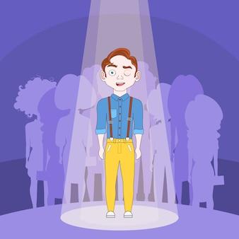 シルエットの人の群衆の背景の上にスポットライトで立っている才能のある男