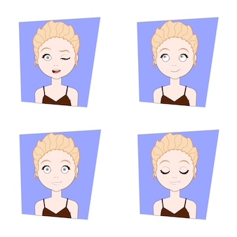 ブロンドの女の子の顔の表情の異なる顔の感情セットを持つ若い女