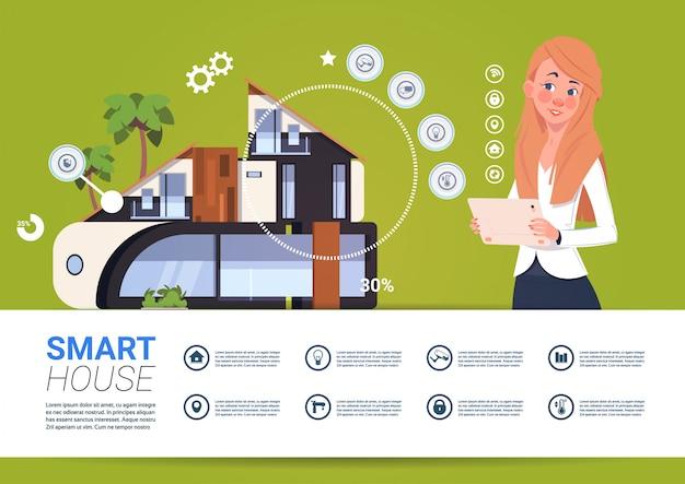 スマートホームコントロールと管理システムのインターフェイスの概念とデジタルタブレットを保持している女性