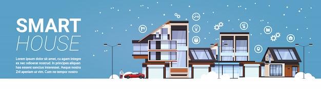 ホームオートメーションコンセプトテンプレートインフォグラフィックの背景の水平方向のバナーのスマートハウス技術