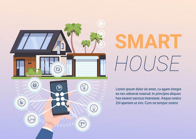 Концепция системы умный дом с руками, держа смартфон с управляющим приложением