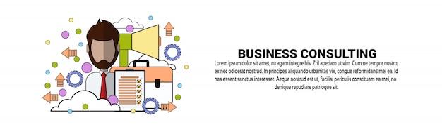 Бизнес консалтинг поддержка горизонтальный баннер шаблон