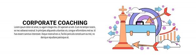 Корпоративный коучинг бизнес тренинг концепция горизонтальный баннер шаблон