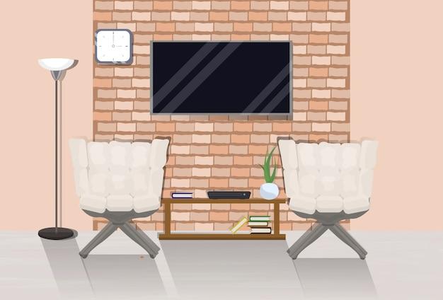 Современный интерьер комнаты в мансарде с двумя уютными креслами и телевизором на стене