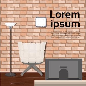 Современный интерьер комнаты в мансарде с уютным креслом, телевизором. текстовый шаблон
