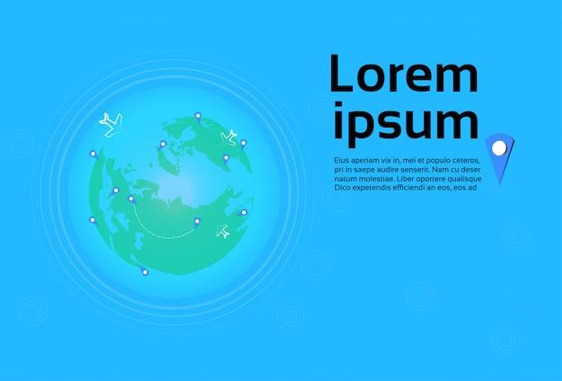 ポインターで世界地図上を飛ぶ飛行機旅行先コンセプトテンプレートバナー