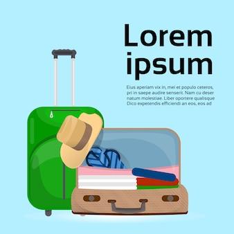 手荷物スーツケースとバッグ。テンプレート。旅行と観光の概念