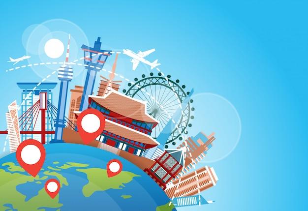 韓国旅行のランドマーク飛行機が有名な韓国の建物を飛び越えて休暇の目的地の概念