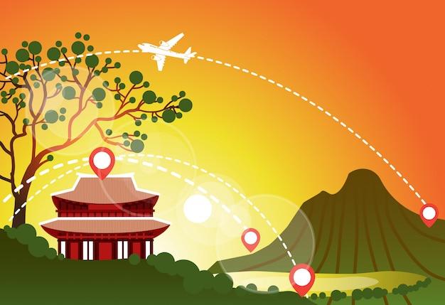 韓国旅行ランドマーク風景山の夕焼けの美しい寺院アジアの旅行目的地を見る