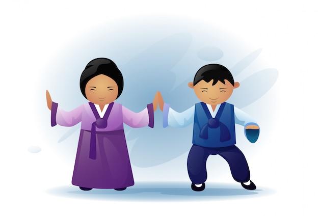 アジアの男性と女性の伝統的な服を着て着物ダンスアジア民族の伝統
