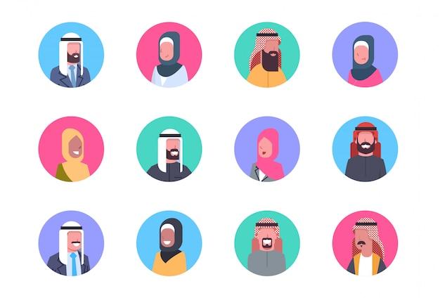アラビアプロフィールアバターセットアラブ男性と女性、肖像画イスラム教徒の顔コレクション