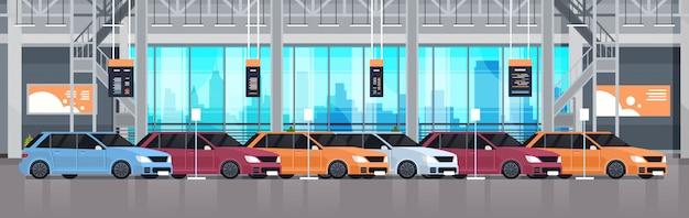 Автосалон центр автосалона интерьер с выставкой новых современных транспортных средств горизонтальная иллюстрация