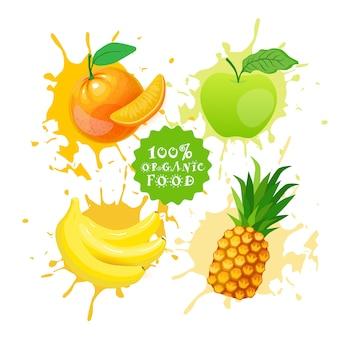 Набор фруктов над краской всплеск свежевыжатый сок логотип натуральные продукты питания фермерские продукты концепция
