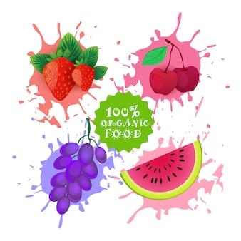 スプラッシュフレッシュジュースのロゴの上に果物のセット自然食品農産物コンセプト