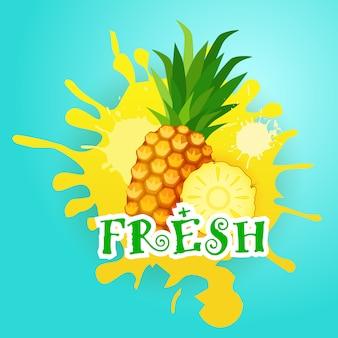ペイントスプラッシュフレッシュジュースのロゴナチュラルフード農産物上のパイナップル