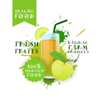 スプラッシュペイントの上の新鮮なアップルジュースのロゴの自然食品農産物のラベル