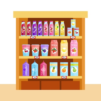 Ассортимент натуральных пищевых продуктов, соков, молока и йогурта
