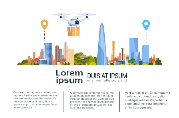 Дрон доставки с пакетом по городу. быстрый воздушный транспорт концепция шаблон баннер