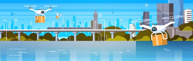 ボックス付きドローンは近代的な都市の上空を飛ぶ、航空輸送配達コンセプト水平方向のバナー