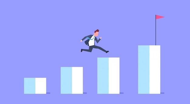 Деловой человек запустить финансовую гистограмму диаграмма роста подъема бизнесмена