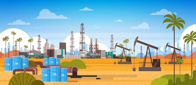 砂漠東石油生産と貿易の概念で石油プラットフォーム