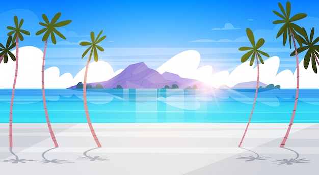 ヤシの木とシルエットの山々と美しい熱帯のビーチ風景夏の海辺エキゾチックな楽園ポスター
