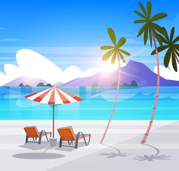 熱帯のビーチ夏デッキチェアデッキチェアエキゾチックなパラダイスビュー