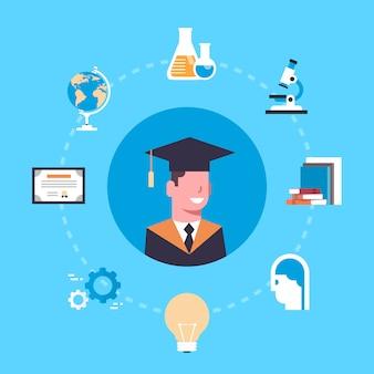 Университет или колледж концепция градации студент в кепке и платье над элементами образования
