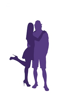 Силуэт мужчина и женщина, обнимая влюбленная пара, изолированные на белом