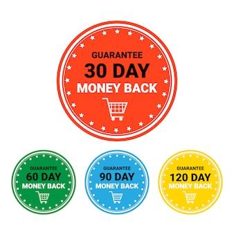 Деньги назад набор значков красочных изолированных