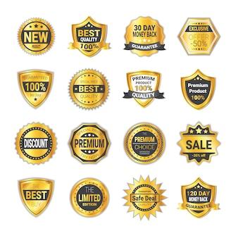 Набор знак продажи и качества золотые щиты изолированные