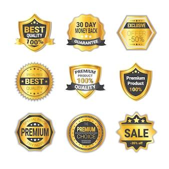 Набор торговых значков со скидкой или качество эмблемы щиты коллекция изолированных
