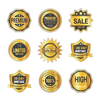 Набор значков покупок специальное предложение или коллекция эмблем высокого качества щиты изолированные
