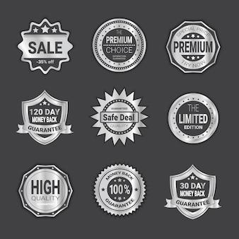 Набор знак покупки продажа или высокое качество щитов эмблема изолированные