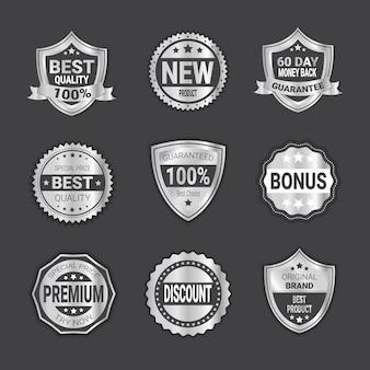 Набор серебряный торговый знак продажа или высокое качество щитов эмблема изолированные